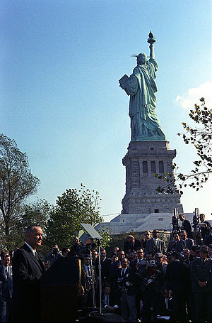 Immigration and Nationality Act of 1965 - October 3, 1965: President Lyndon Johnson visits the Statue of Liberty to sign the Immigration and Nationality Act of 1965.