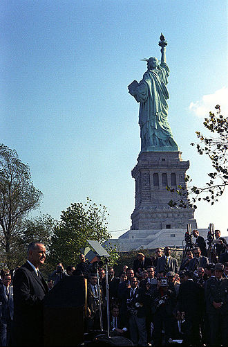 89th United States Congress - October 3, 1965: President Johnson visited the Statue of Liberty to sign the Immigration and Nationality Act of 1965.