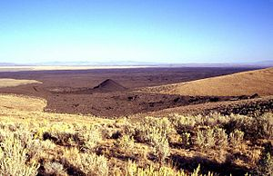 Jordan Craters - Coffeepot Crater (left center) was the source of voluminous basaltic lava flows in the Jordan Craters volcanic field of SE Oregon.