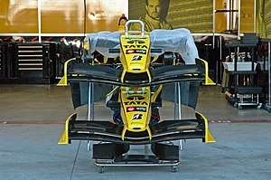 Jordan Grand Prix - Noses and front wings in the Jordan garages at the 2005 United States Grand Prix