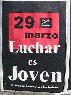 Day of the Young Combatant - A poster promoting the celebration of Día del joven combatiente.