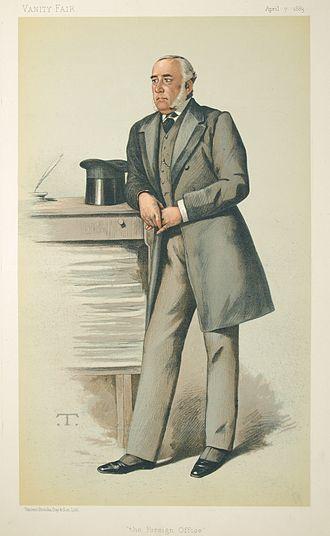 Julian Pauncefote, 1st Baron Pauncefote - Caricature by Spy published in Vanity Fair in 1883.