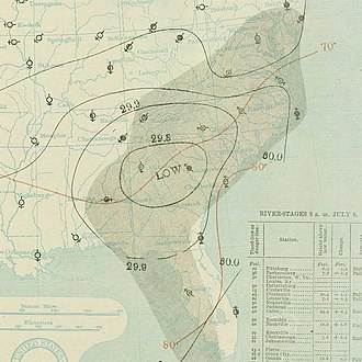 1896 Atlantic hurricane season - Image: July 8, 1896 hurricane 1 weather map