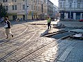 Křižovatka Anděl, rekonstrukce, pohled od Plzeňské k Lidické.jpg