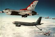 KC-135E Washington ANG refuels USAF Thunderbird F-16s