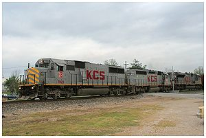 Kansas City Southern Railway - A Kansas City Train EMD SD50 on the point of a train headed North to Oceanside.