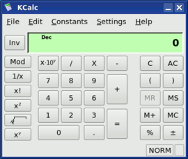 Screenshot di KCalc