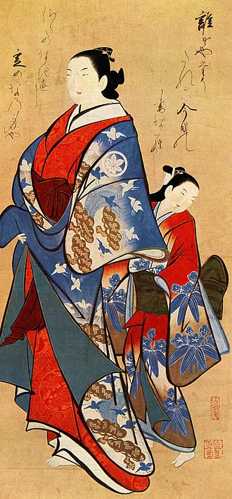 Kaigetsudō school - Courtesan walking with an attendant. Color on silk, Kaigetsudō Ando.