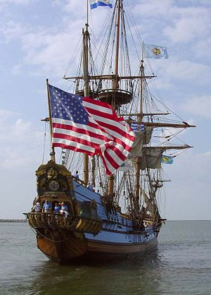 The Kalmar Nyckel leaves Lewes, Delaware for a...