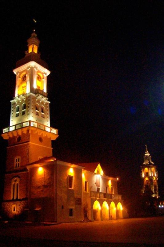 Kamenetz-Podolsk City Hall at night