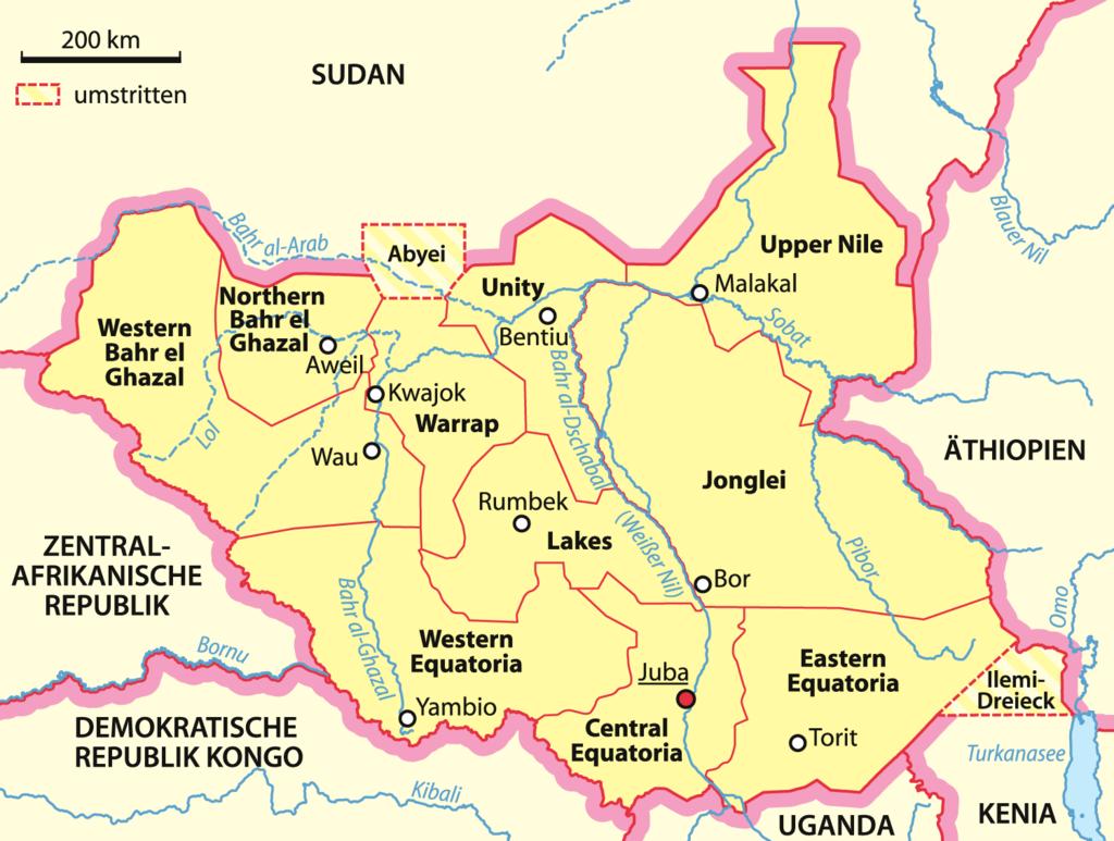 Localización del río en Sudán del Sur