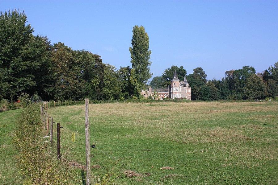Uitzicht op het kasteel van Nieuwenhoven vanaf de oorspronkelijke toegangsweg.