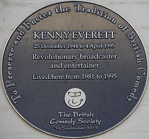 Kenny Everett - Plaque at 91 Lexham Gardens, Kensington, London, Everett's home from 1981 to 1995