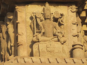 Duladeo Temple - Sculpture of Shiva on the outer wall .
