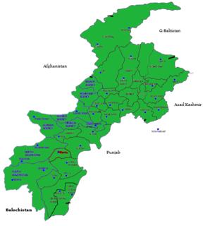 Districts of Khyber Pakhtunkhwa Province in Khyber-Pakhtunkhwa, Pakistan