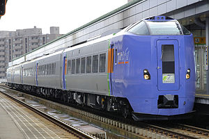 Super Tokachi - KiHa 261-1000 series DMU on a Super Tokachi service at Obihiro Station, October 2007
