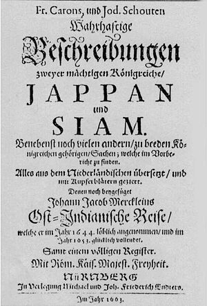 "François Caron - ""A True Description of the Mighty Kingdoms of Japan and Siam"" by François Caron, German Edition, 1663."