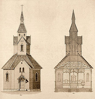 Octagonal churches in Norway - Drawing by Grosch
