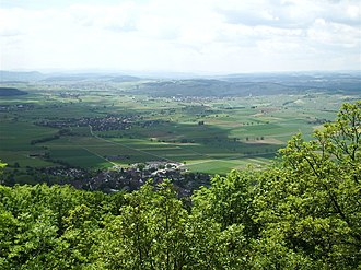 Oberhallau - View from the Siblinger watchtower west over the Klettgau.  In the foreground is Siblingen, then Gächlingen and Hallau/Oberhallau.