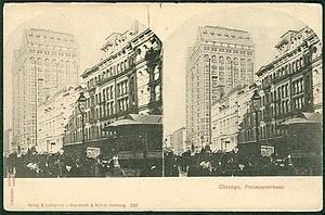 Masonic Temple (Chicago) - Image: Knackstedt & Näther Stereoskopie 0530 Chicago. Freimaurerhaus. Bildseite Masonic Temple (Chicago, Illinois), um 1900