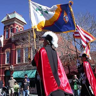 Knights of Columbus -  Knights of Columbus Color Corps marching in full regalia for a St. Patrick's Day Parade in Fort Collins, Colorado.