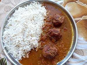 Kofta - Vegetable kofta curry, served with boiled rice in India