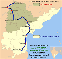 Krishna Express (Adilabad - Tirupathi) Route map.png