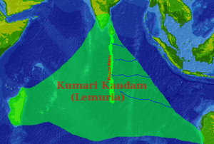 "Lemuria in popular culture - ""Lemuria"" in Tamil nationalist mysticist literature, connecting Madagascar, South India and Australia (covering most of the Indian Ocean)."