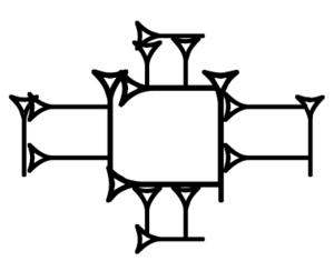 Cross - Archaic cuneiform character LAK-617: a cruciform arrangement of five boxes; scribes could use the central, larger box as container for other characters.