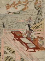 An 18th-century woodblock in the ukiyo-e style, depicting Murasaki Shikibu being inspired by the moon