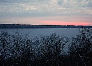Lake Pepin - Lake Pepin covered in ice at sunset in December