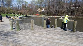 Lake Elkhorn - The wooden docks on the north side of Lake Elkhorn, facing northeast
