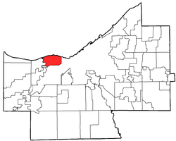 Location of Lakewood in Cuyahoga County