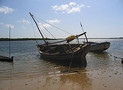 Lamu dhower in beach.JPG