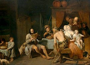 David Ryckaert III - The fable of the satyr and the peasant family
