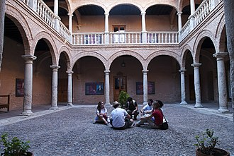 "Almagro, Ciudad Real - Almagro is member of the cultural programme Ruta Ñ to promote the Spanish language and culture. Photo: Students of Spanish in the ""Palacio de los Fúcares"" (Almagro)."