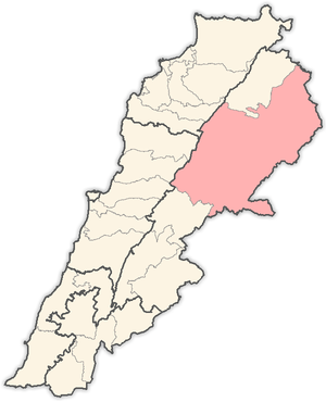 English: Map of districts in Lebanon, highligh...
