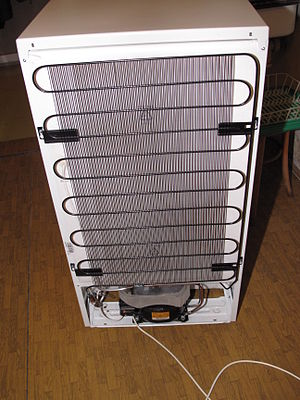 Condenser (heat transfer) - The condenser coil of a refrigerator