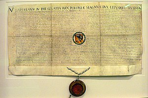 Biržai - Privilege granted to Biržai by Władysław IV Vasa