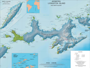 Karte der Livingston-Insel mit Desolation Island in der Hero Bay