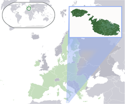 Location of Malta (dark green) – on the European continent (light green & dark grey) – in the European Union (light green)