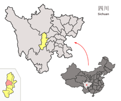 Location of Tianquan County (red) within Ya'an City (yellow) and Sichuan