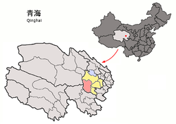 Xinghai County (red) within Hainan Prefecture (yellow) and Qinghai