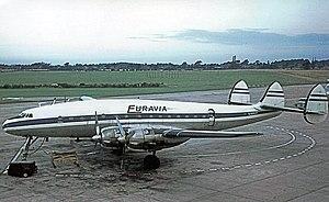 Britannia Airways - Euravia Lockheed Constellation at Manchester Airport in 1964