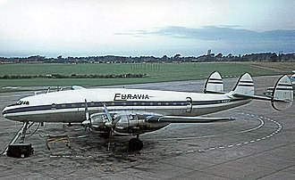 Britannia Airways - Euravia Lockheed Constellation at Manchester Airport in 1964