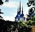 Lommatzsch,Wenzels-Kirche,vom Eingang des Friedhofs aufgenommen.JPG
