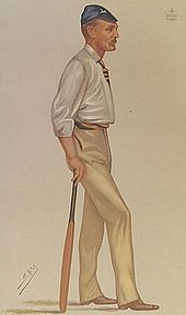 Caricature of a tall thin man with a moustache holding a cricket bat