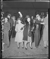 Los Angeles, California. Waving to departing friends who are leaving for assembly centers. All res . . . - NARA - 536764.tif