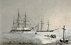 HMS Resolute (1850) - HMS Resolute and Intrepid winter quarters, Melville Island, 1852-53