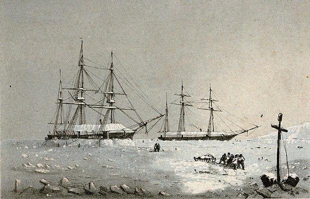 HMSレゾリュートとHMSイントレピッドの冬の宿舎、メルヴィル島、1852年から53年。 Resoluteの航海長であるGeorgeFrederickMcDougallによって描かれました。